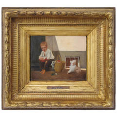 """""""Boy with His Dog"""" Oil on Wood Panel Signed by Duval, End of the 19th Century"""