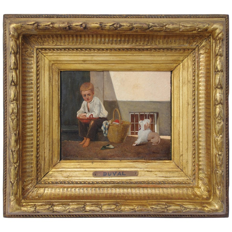 Duval, « Boy and his dog », Oil on panel, late 19th century For Sale