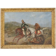 """19th c. Oil on cavas """"The horse theft"""" signed J.MAGNE and dated 1840"""