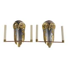 Pair of Metal Owl Sconces, 20th Century