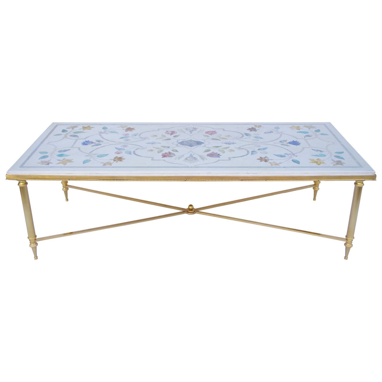 Coffee Table In Gilt Bronze And Scagliola Imitation Top At 1stdibs