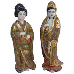 Pair of Satsuma Faience Geishas, circa 1900
