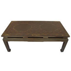 Unusual Olive Green Chinoiserie Lacquered Coffee Table, 1950