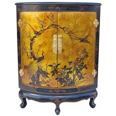 Louis XV Style Corner Cupboard with Chinese Style Lacquered Decor from 1970