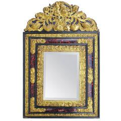 Napoleon III Style Tortoise Shell Mirror with Pediment, 19th century