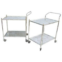 Pair of Rolling Silvered Metal Trolleys, circa 1970