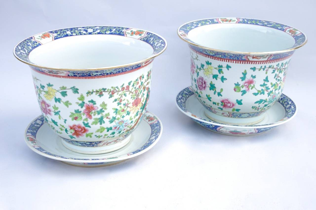 Pair of green family porcelain planter and their plates. White background decorated with polychromatic enamels representing on the body of de vase a plants decoration with cherry blossom, peonies, dahlias and eyelets, and a phoenix. On both planter