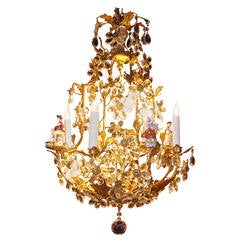 Italian Gilt Bronze Chandelier with Capodimonte Porcelain Characters, circa 1880