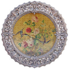 1870 Period Large Ornamental Plate with Birds