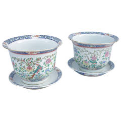 Pair of Chinese Green Family Porcelain Planters, circa 1900