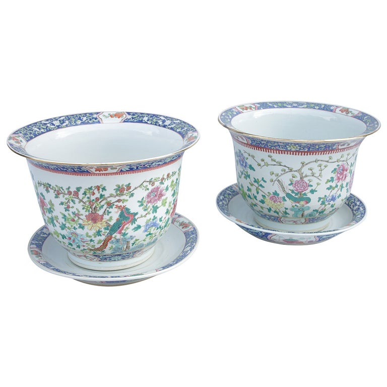 Pair of Chinese Green Family Porcelain Planters, circa 1900 For Sale