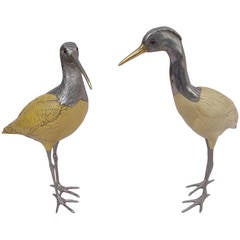 Pair of Silvered Metal Bird Sculptures from Italy Signed Malevolti, circa 1950