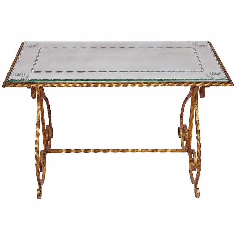 Gilt Wrought Iron Coffee Table With Engraved Glass Top Circa 1950 For Sale At 1stdibs