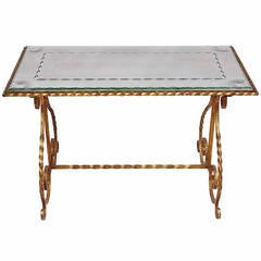 Gilt Wrought Iron Coffee Table with Engraved Glass Top, circa 1950
