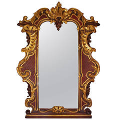 Large Rococo Style Mirror in Gilt and Painted Oakwood, circa 1900