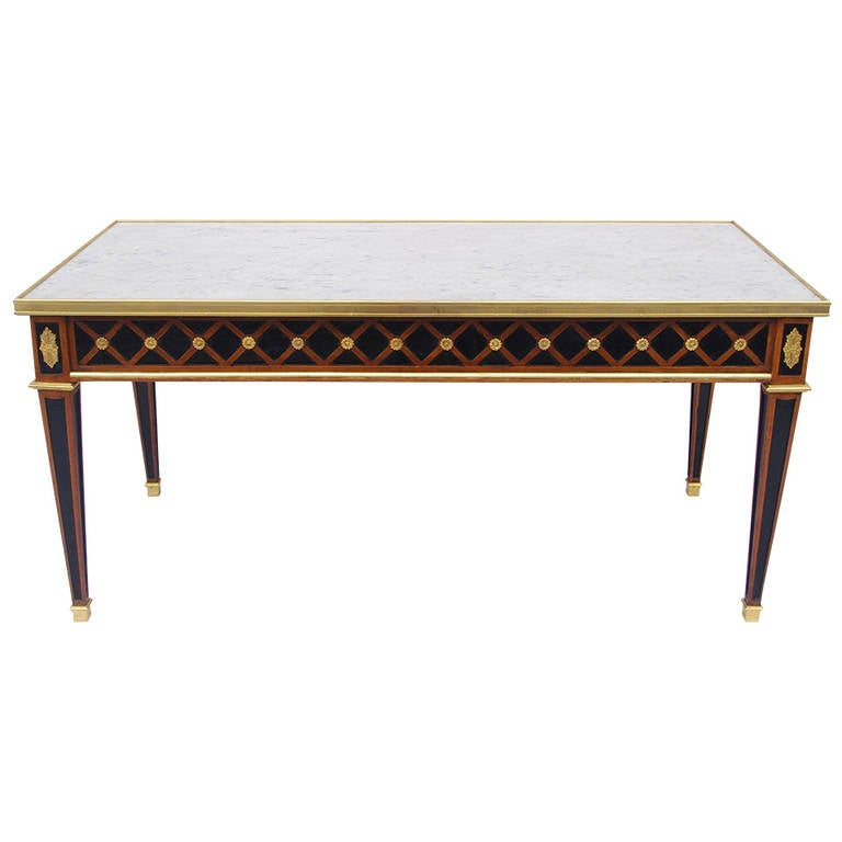 Directoire style rectangular coffee table with white for Marble top coffee table rectangle