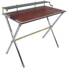 70's chrome and gilt Directoire style desk