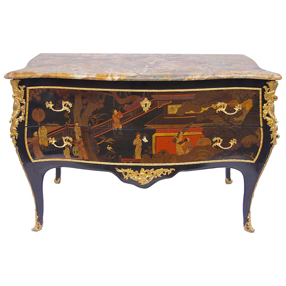 Unusual Large Louis XV Style Lacquer Commode At 1stdibs