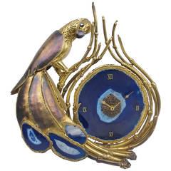 Parrot Blue Agate Clock, Signed Henri Fernandez, circa 1970