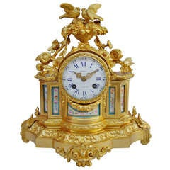Louis XVI Style Clock in Gilded  Bronze and Porcelain