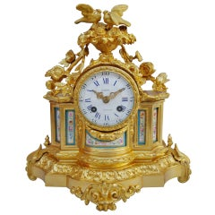 Louis XVI Style Clock in Gilded  Bronze and Porcelain, Late 19th Century