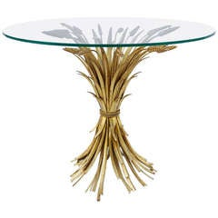 Wheat Coffee Table With Glass Top From 70's