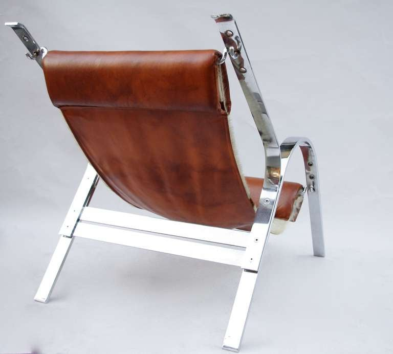 Chaise longue in leather and cow skin from 1970 at 1stdibs for Chaise longue leather