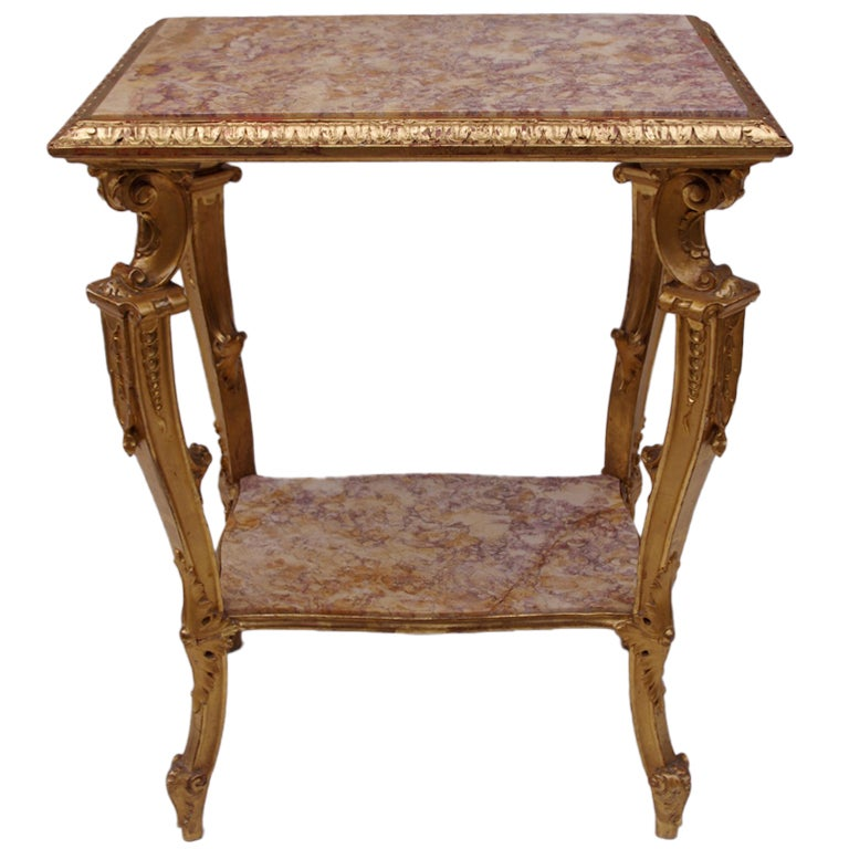 19th Century Italian Side Table in Giltwood with Two Marble Tops For Sale