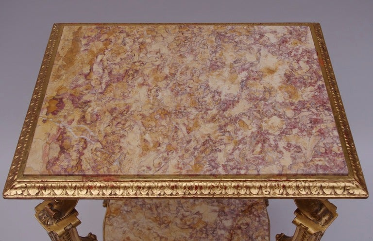 Louis XV 19th Century Italian Side Table in Giltwood with Two Marble Tops For Sale