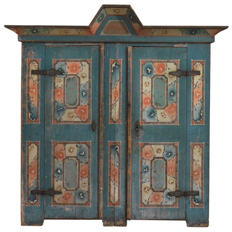 Northern European Folk Art Marriage Cupboard For Sale