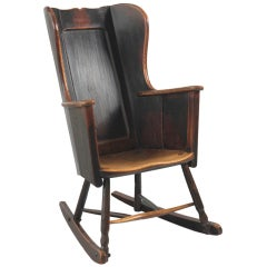 Primitive 19th Century Wing Backed Rocking Chair
