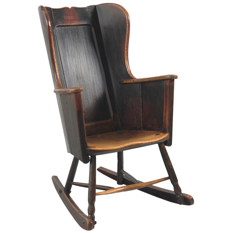 Primitive 19th Century Wing Backed Rocking Chair For Sale