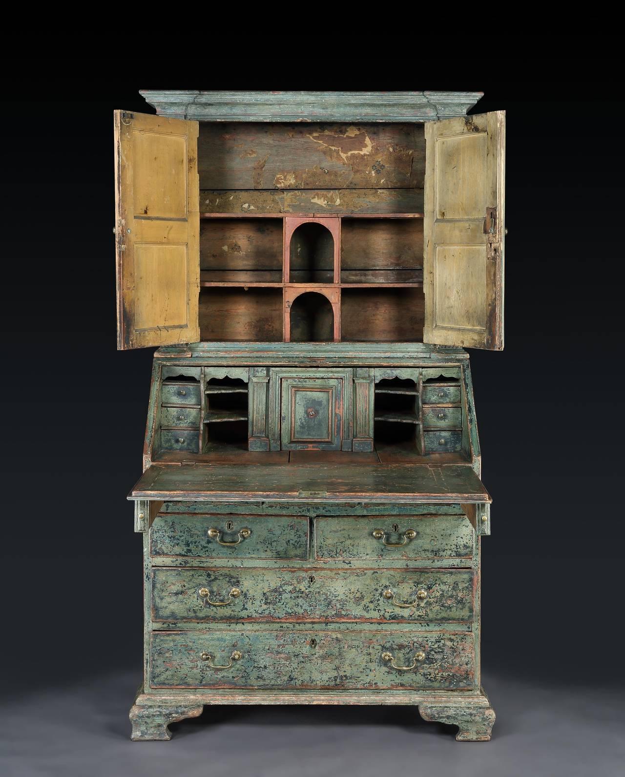 extraordinary c18th original painted bureau cabinet at 1stdibs. Black Bedroom Furniture Sets. Home Design Ideas