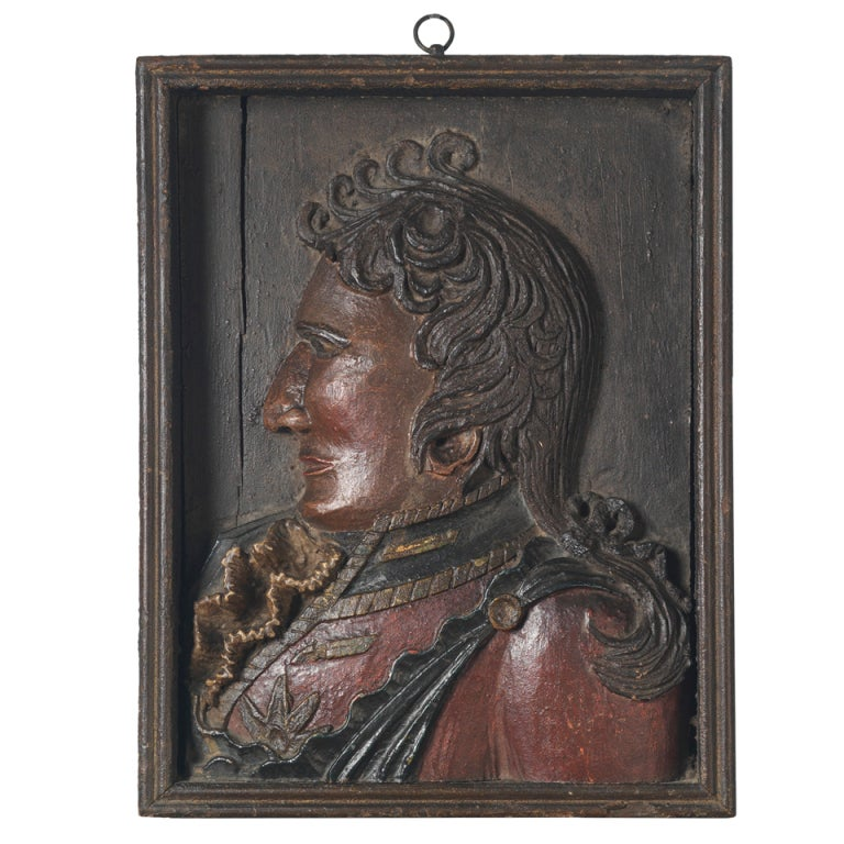 Relief Carved Portrait of a Uniformed Officer, Dated 1817