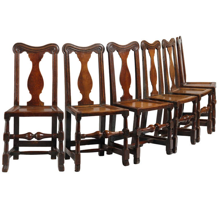 rare set of six queen anne period dining chairs