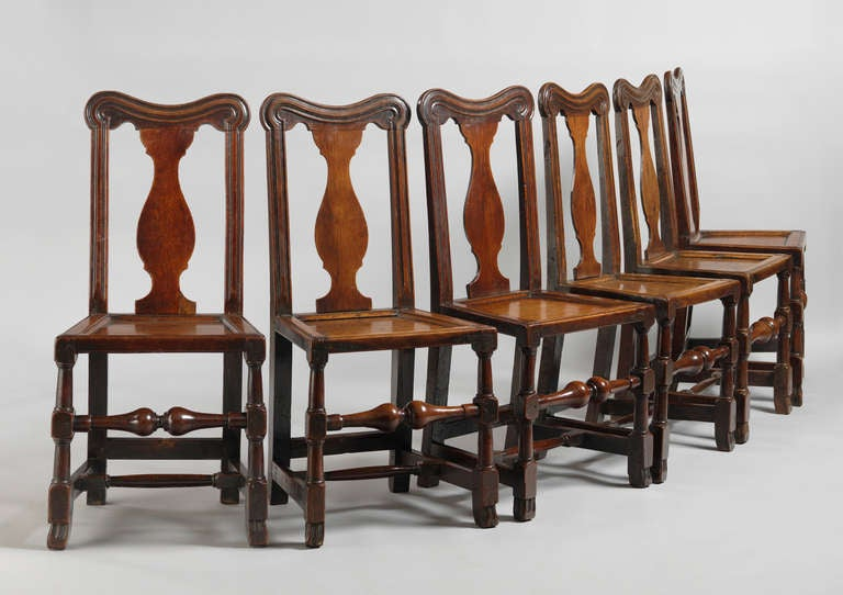 set of six queen anne period dining chairs for sale at 1stdibs