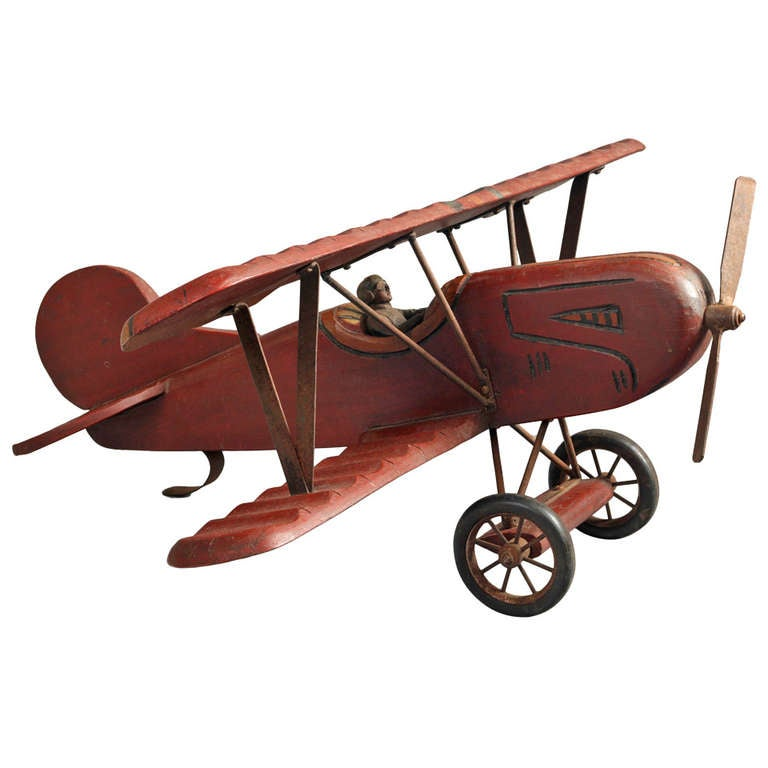Large Red Painted Wooden Model Bi Plane At 1stdibs