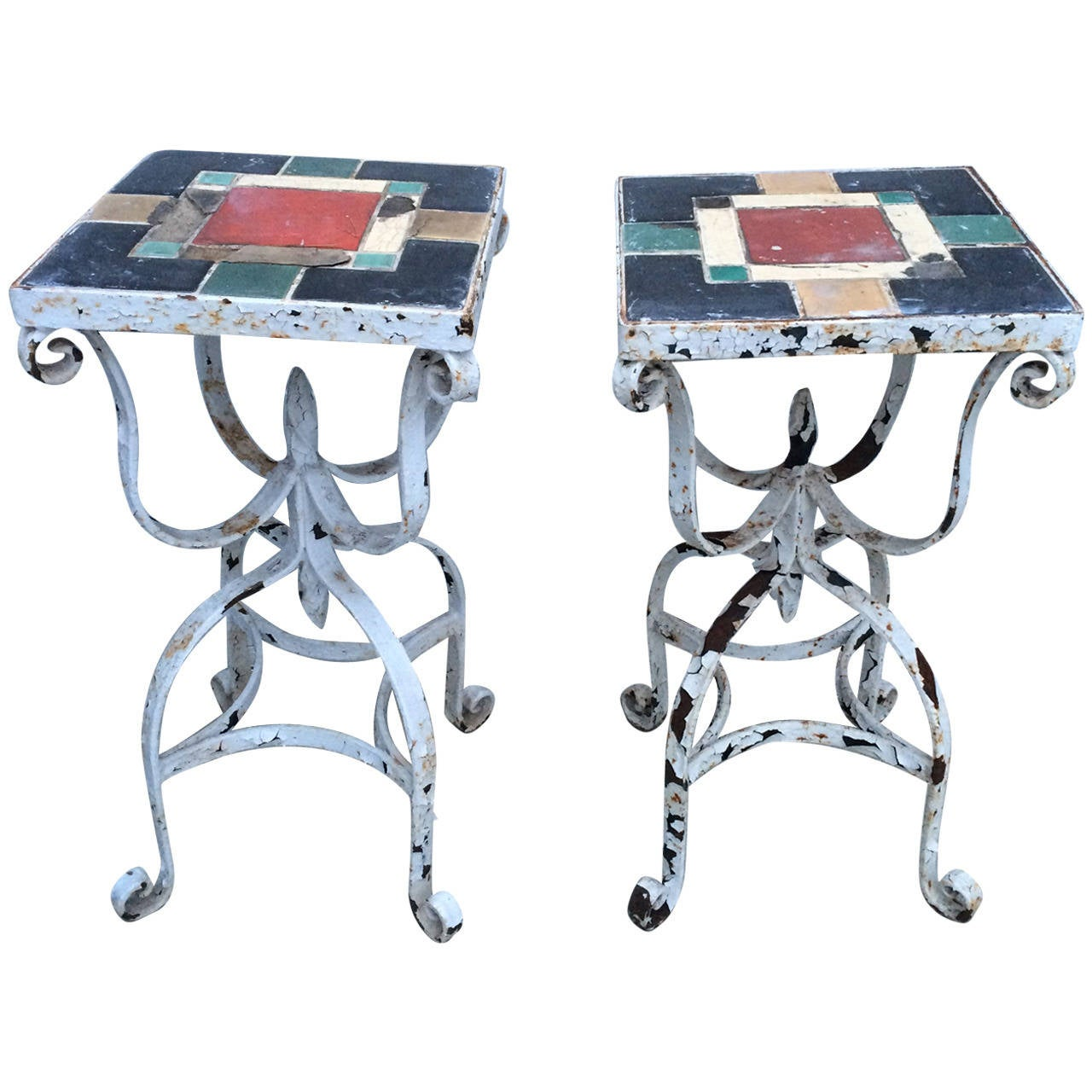 Pair of Iron Tile Top Tables