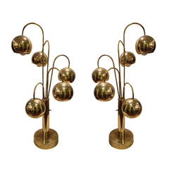 Monumental Pair of Brass Waterfall Table Lamps by Sonneman