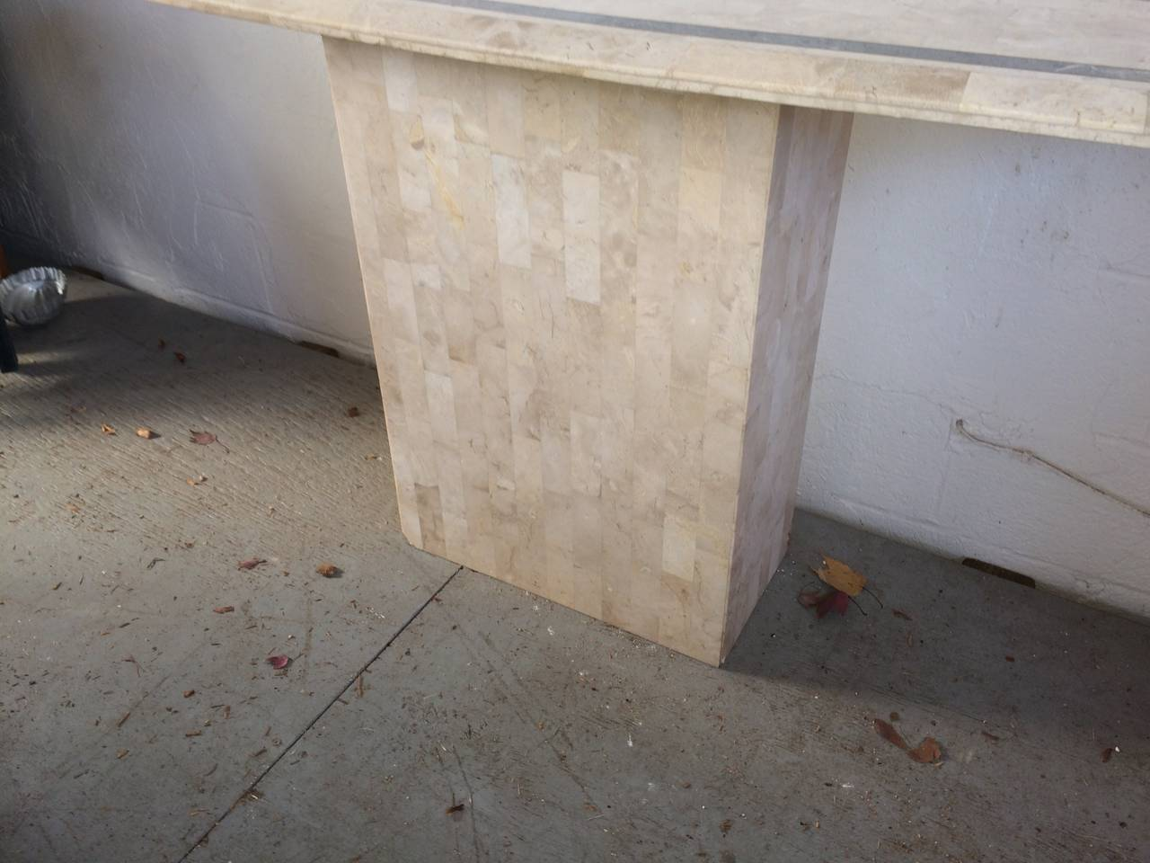American Maitland-Smith Tessellated Fossil/Stone Console Table For Sale