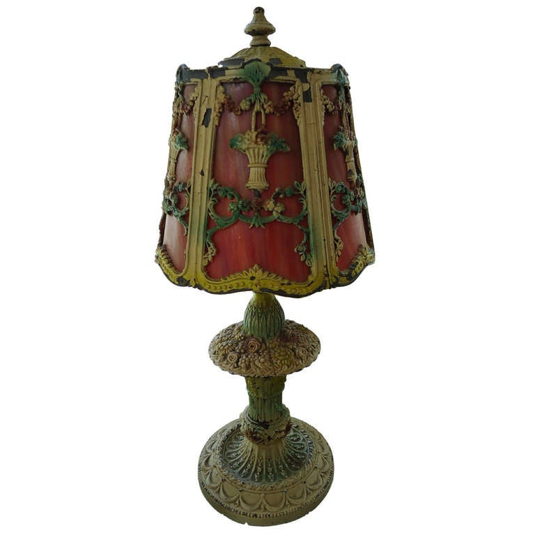 1920s Art Deco Boudoir Lamp with Slag Glass Shade at 1stdibs
