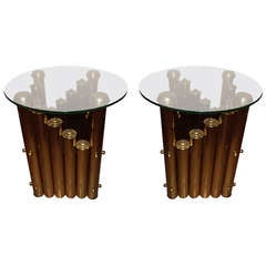 Pair of Hollywood Regency Tubular Brass and Glass Tables