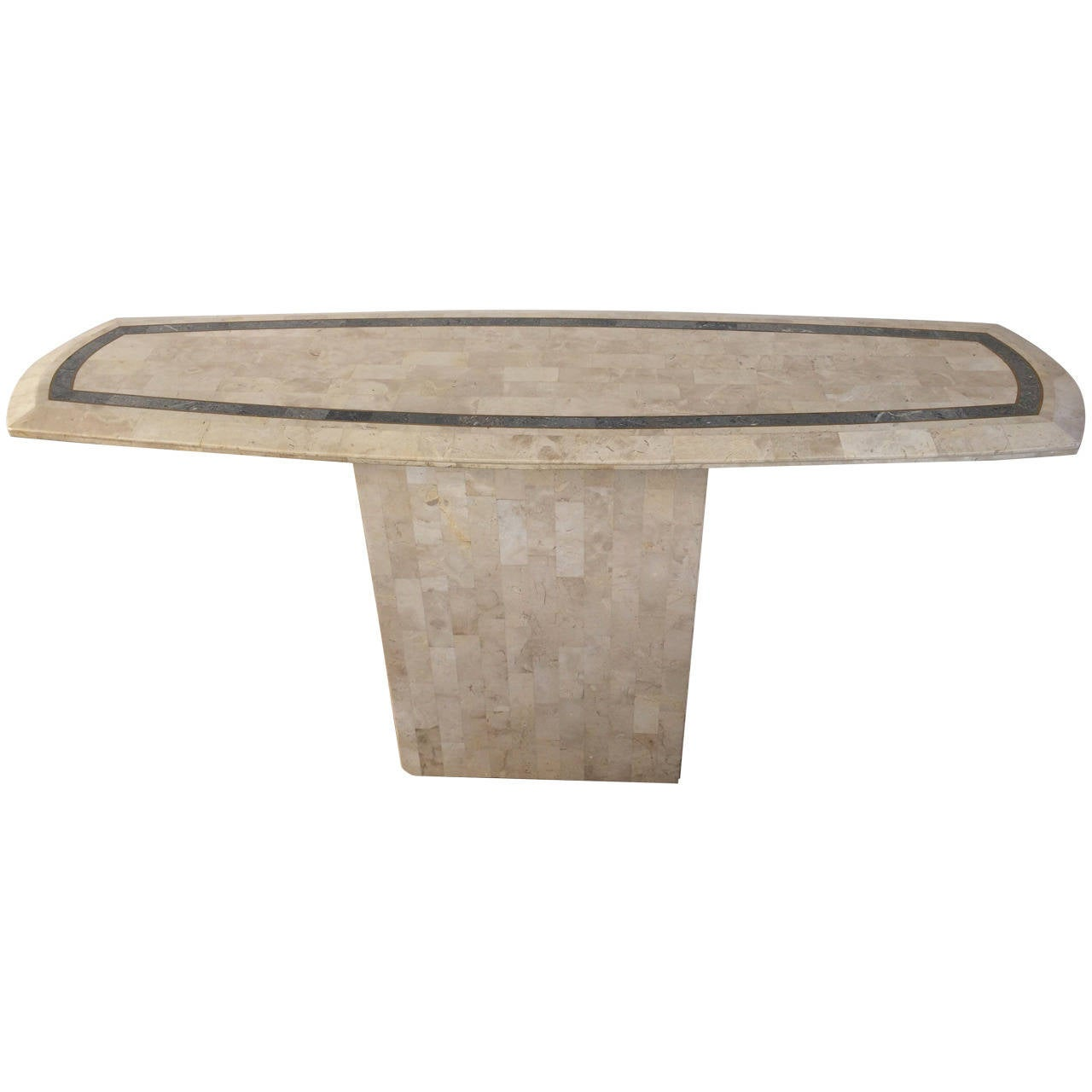 Maitland-Smith Tessellated Fossil/Stone Console Table For Sale