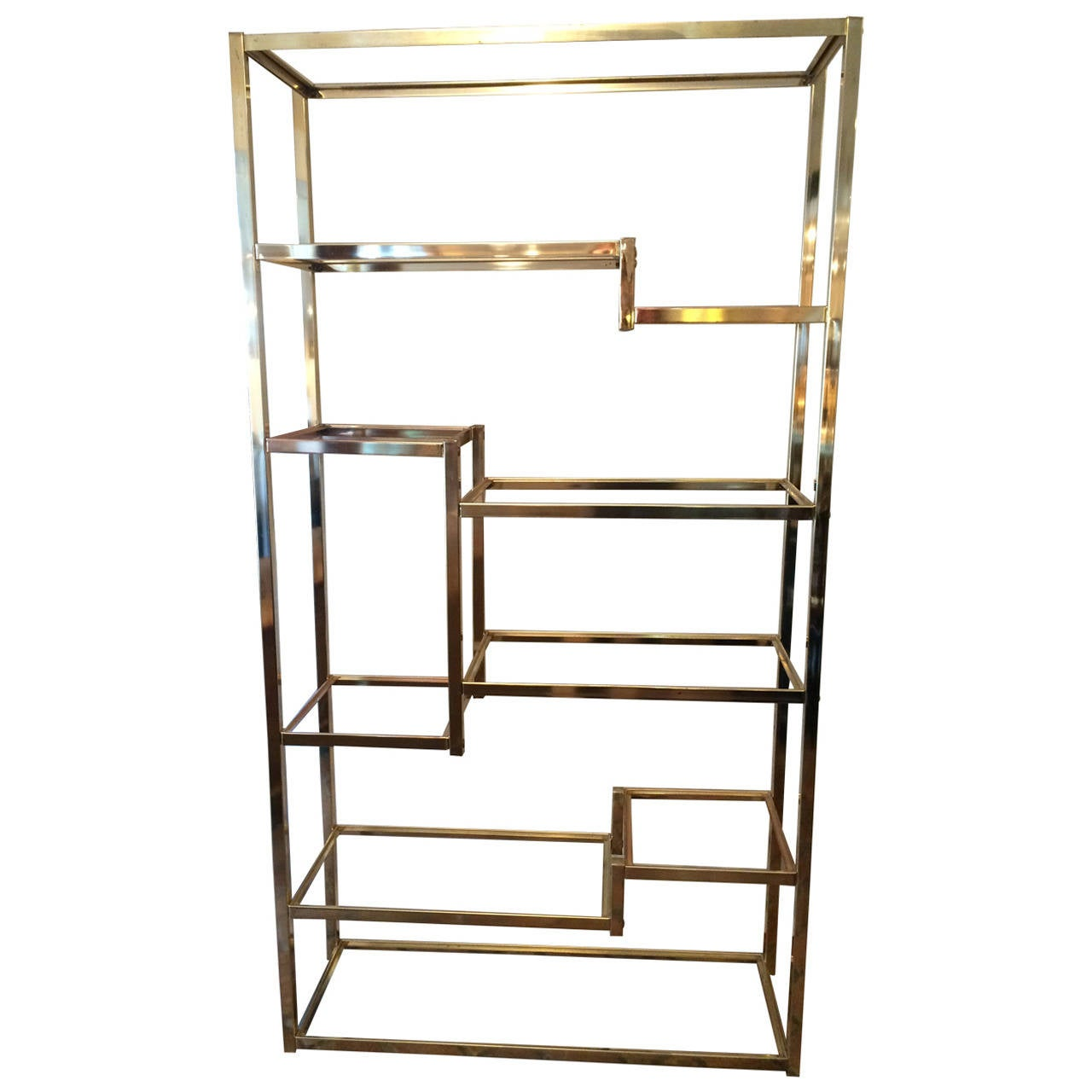 milo baughman style brass etagere at 1stdibs. Black Bedroom Furniture Sets. Home Design Ideas