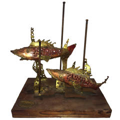 Signed Brutalist Sculpture of Fish by Segal