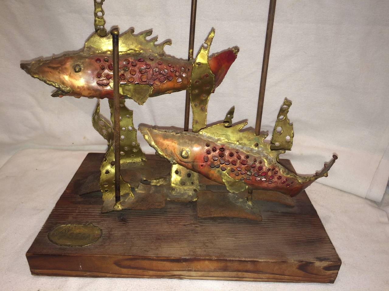 Brass Signed Brutalist Sculpture of Fish by Segal For Sale