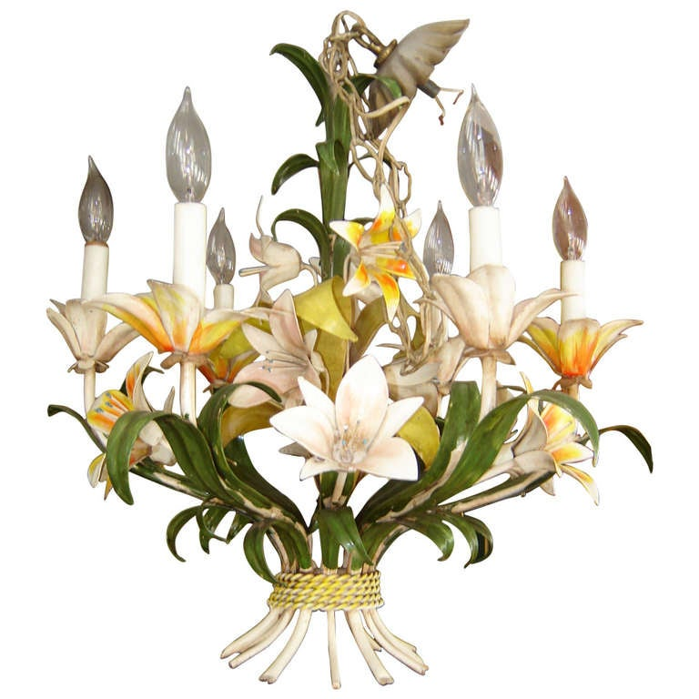 Tole Italy  City pictures : Italian Tole Floral Chandelier at 1stdibs