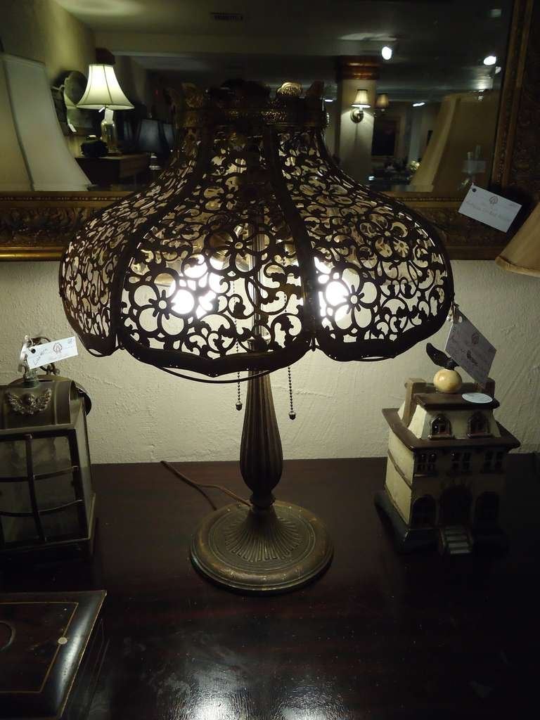 Antique Gilt Metal Lamp With Pierced Shade By Edward