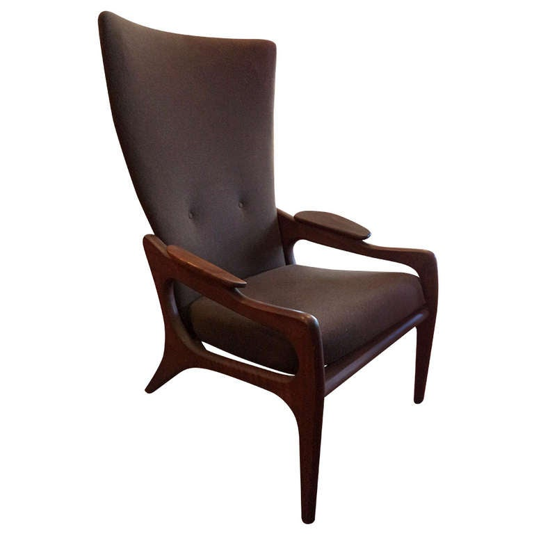 Adrian Pearsall Sculptural Wing Back Lounge Chair at 1stdibs
