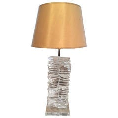 Hollywood Regency Sculptural Helix Lucite Lamp